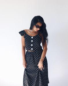 Σετ Retro Black Polka Dot τοπ+φούστα. - BLUSHGREECE Short Sleeve Dresses, Dresses With Sleeves, Co Ord, Polka Dots, Retro, Black, Fashion, Moda, Sleeve Dresses