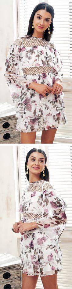 Ruffle mesh hollow out summer dress Women flare sleeve elegant short dress Chiffon floral print #causal #dress #vestidos