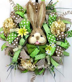Deco Mesh Spring Wreath, Bunny Wreath, Deco Mesh Easter Wreath, Spring Wreath, Easter Wreath, Front Door Wreath, Easter Bunny Wreath by WruffleWreathsbyLana on Etsy