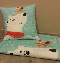 Ensemble couverture et coussin - modèle l'ours et l'oiseau - fait main : Linge de lit enfants par small-sleeper