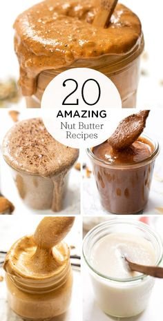 Here are 20 of the healthiest unique nut butter recipes We ve got so many ideas using all kinds of nut butters using almonds cashews peanuts pistachios or even pecans Making your own homemade nut butter is the best and so affordable Pistachio Butter, Walnut Butter, Best Almond Butter, Healthiest Nut Butter, Homemade Peanut Butter, Peanut Butter Recipes, Raw Peanut Butter, Cashew Butter, Good Healthy Recipes