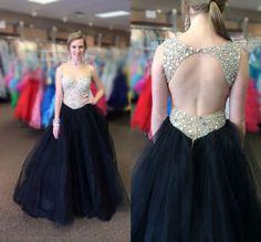 Elegant New Arrival Beading Tulle Prom Dresses,Black Prom Dresses,A-Line Prom Dresses,Backless Evening Dresses