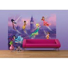 AG Design Fotobehang Disney Fairies in London Disney Wall Murals, Disney Girls, Disney Princess, Disney Rooms, Disney Fairies, The Little Mermaid, Kids Bedroom, Fairy Tales, Mickey Mouse