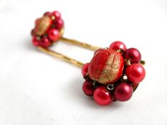 Red Hair Pins Made with Vintage Earring CLEARANCE by merlinthecat, $6.00
