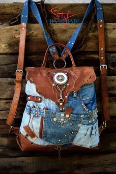 Your place to buy and sell all things handmade Denim Backpack, Denim Bag, Travel Backpack, Travel Bags, Reuse Jeans, Diy Bags Purses, Denim Ideas, Denim Crafts, Jean Purses