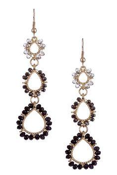 Black & Gold  Triple-Tier Progressive Earrings by Olivia Welles on @HauteLook