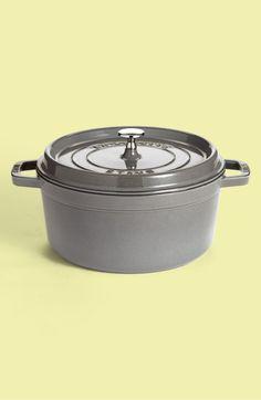 5 1/2 Quart Round Enameled Cast Iron Cocotte,                         Main,                         color, Graphite Grey