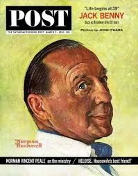 Norman Rockwell, Magazine Cover art, Color Illustration (Jack Benny) Original Vintage, March, 1963 the Saturday Evening Post Magazine cover Print Art Norman Rockwell Art, Norman Rockwell Paintings, Jack Benny, Pin Up, Norman Vincent Peale, Saturday Evening Post, Cinema, Artist Gallery, American Artists