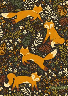 Fox Tails woodland pattern, textile pattern, fox and fern illustration