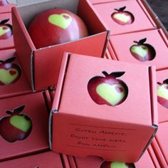 Put a sticker on your apples while they are still green on the tree. As they ripen, the part under the sticker stays green and you have a custom stenciled apple. This would make the perfect Snow White party gift (for the super organised!)