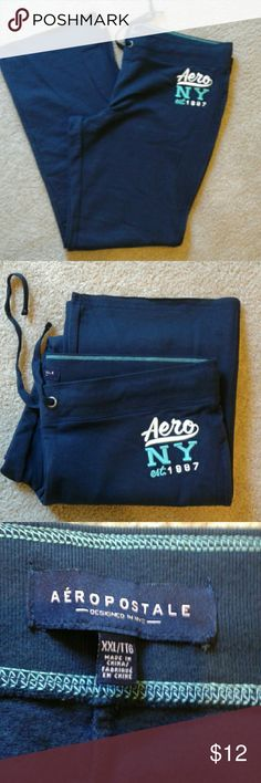 "Aeropostale Lounge Pants Navy Blue Aeropostale Pants Size XXL 57% Cotton 38% Polyester  5% Spandex  19"" Waist and Elastc  Aero Logo on left side New Without Tags Bundle Discount Available Aeropostale Pants"