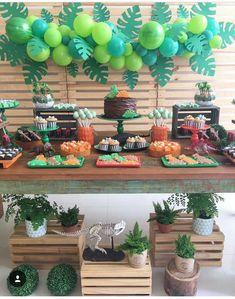 Ideas For Safari Birthday Party Boy Balloons Jungle Theme Birthday, Dinosaur Birthday Party, Boy Birthday Parties, Birthday Party Decorations, Dinosaur Party Decorations, 3rd Birthday, Hawaii Party Decorations, Safari Decorations, Animal Birthday