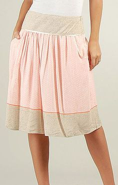 Coral & Beige Sheer A-Line Skirt