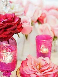 . Pink Love, Red And Pink, Pretty In Pink, Hot Pink Decor, I Believe In Pink, Pink Candles, Everything Pink, Fairy Lights, Tea Lights