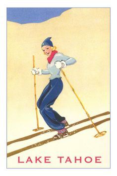 another cute vintage ski poster -- Lake Tahoe!