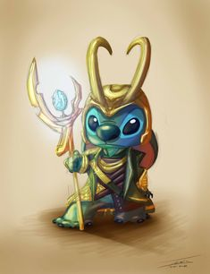 omg its Stitch dressed as Loki. well he was created for mischief. As if I couldn't love Loki/Stitch more. Disney Amor, Arte Disney, Disney Love, Disney Magic, Disney And Dreamworks, Disney Pixar, Disney Characters, Disney Marvel, Lilo Y Stitch