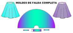 Moldes de Faldas circulares amplias, mas detalles de los 3 modelos de faldas en http://creamodashop.com/moldes-de-faldas-circulares/