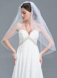 [US$ 14.99] One-tier Beaded Edge Elbow Bridal Veils With Beading (006115064)