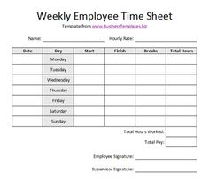 Free Printable Timesheet Templates | Free Weekly Employee Time Sheet Template Example