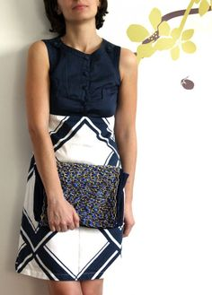 gold chain bag with blue satin - handmade by Art in Projects