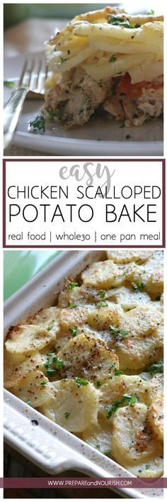 Easy Chicken Scalloped Potato Bake - This simple casserole comes together quickly and easily. With only 5 main ingredients (plus spices), this bake is delicious and naturally Whole30 compliant. Enjoy this casserole with a side salad for a complete nourishing meal. One Pan meal made easy. via @preparenourish