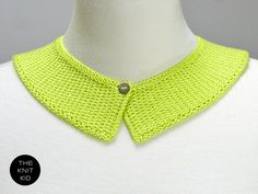 Unisex olive green collar scarf 3 4 left in shade unisex scarves knitted collar neon yellow green lime viscose theknitkid dt1010fo