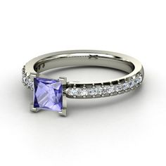 Audrey Ring - Princess Tanzanite 14K White Gold Ring with Diamond | Gemvara