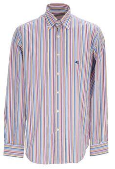 Get in Line! Elegantes Langarmhemd mit Button-Down-Kragen und bunten Streifen der italienischen Marke Etro. Es hat Sportmanschetten und Perlmutt-Knöpfe mit Logo-Druck. Das Logo ist außerdem in dunkelblau auf der linken Seite der Brust eingestickt.