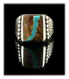 Mens Ribbon Turquoise Saddle Ring by Dillon Hartman