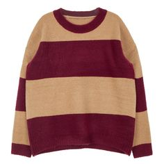 Wide Stripe Knit Sweater ($33) ❤ liked on Polyvore featuring tops, sweaters, loose knit top, knit tops, loose fit tops, purple knit sweater and long sleeve sweaters