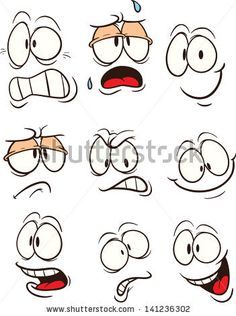 Cartoon faces. Vector clip art illustration. Each on a separate layer. - stock vector