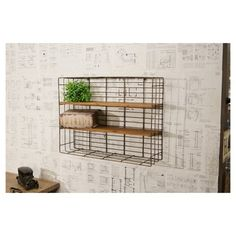 Hang our Metal Wire Wall Rack in your craft room, mudroom, laundry room, or office for extra storage! For more organizational decor and stylish decor please visit Decor Steals Wall Mounted Wood Shelves, Wood And Metal Shelves, Metal Shelving Units, Wall Storage Shelves, Laundry Room Storage, Wall Racks, Wire Shelving, Bathroom Storage, Wall Mounted Spice Rack