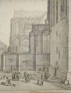 Gezicht op het noordwestelijke gedeelte van het ingestorte schip en de westmuur van het noordertransept van de Domkerk te Utrecht, met rechts de noordzijde van de onderste geleding van de Domtoren, uit het westen, Herman Saftleven 1674