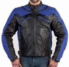 Motorcycle Gear, Motorcycle Jackets, Racing, Zipper, Leather, Blue, Men, Fashion, Running