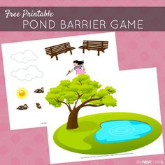 Free printable pond themed barrier game for speech therapy - great for kids with autism and hyperlexia from And Next Comes L