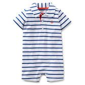 An adorable 1-piece outfit, this striped polo-style jersey romper has a fun nautical look that's so cute for spring!