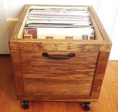 LP Vinyl Record Wooden Storage Box Crate with Wheels