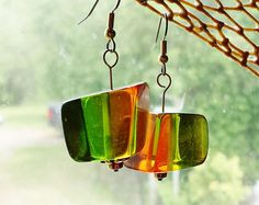 60s Inspired Dangle Earrings, Orange and Green Resin Cubes, Mod Resin Earrings, Retro Costume Jewelry by blueworldtreasures. Explore more products on http://blueworldtreasures.etsy.com