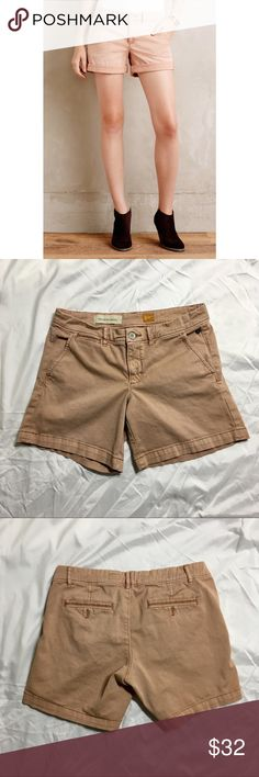 Anthropologie Pilcro Hyphen fit chino shorts 27 Hyphen fit shorts in size 27 from Anthropologie exclusive brand Pilcro and the Letterpress. Good condition. Back pockets have decorative (non-functional) buttonholes. The color was v hard to capture! Please see stock photo for color. They are a light pink, orange, salmon, coral, peach type color but my photos are just showing brown. The stock photo has the right color. If you are someone who might open a case for color though, probably best to…