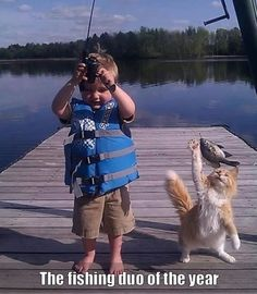 10 Funny Pictures Today! #2 Cute kid fishing with cat.
