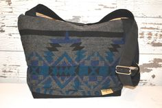 Digital Camera Bag  / Navy, Blue, grey & black Wool, Lightweight!  Southwest wool - Washable by Darby Mack Made in the USA by DarbyMack on Etsy