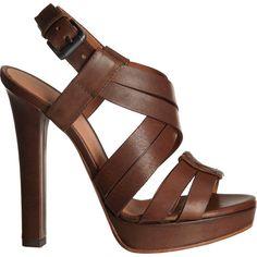 Bottega Veneta Cross Strap Sandal ($790) ❤ liked on Polyvore featuring shoes, sandals, heels, обувь, chaussures, high heel platform sandals, cross strap sandals, leather sandals, brown leather sandals and ankle strap platform sandals