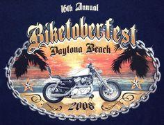 Motorcycle T Shirt XL Mens Biketoberfest 16th Daytona Beach FL 2008 Navy Blue #Gildan #GraphicTee