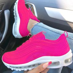 Women's Nike Air Max 97 Peach Pink White Trainer nike discount nike shoes for women on sale - Nike Shoes Pink Nike Shoes, Cute Nike Shoes, Nike Air Shoes, Sneakers Mode, Cute Sneakers, Sneakers Fashion, Shoes Sneakers, Fashion Outfits, Air Max 97