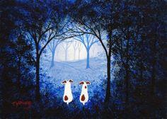 Jack Russell Terrier chien grand Folk art imprimé par ToddYoungArt