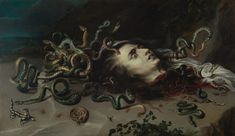 Head Of Medusa, Artist: Peter Paul Rubens Start Date: Completion Style: Baroque Genre: mythological painting Technique: oil Material: canvas Dimensions: 69 x 118 cm Gallery: Kunsthistorisches Museum, Vienna, Austria Peter Paul Rubens, Medusa Painting, Snake Painting, Medusa Art, Medusa Head, Caravaggio, Rubens Paintings, Oil Paintings, Baroque Art