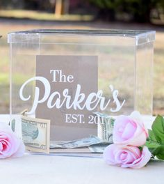 Clear Acrylic Personalized Card Box with Card Slot