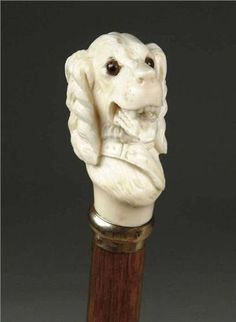 CARVED IVORY DOG HEAD CANE