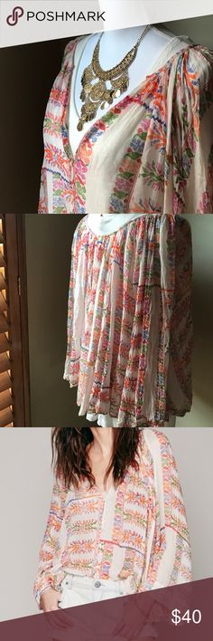Free People One Floral Invasion Buttondown Embrace your gypsy soul in this soft, totally boho button down from Free People. Oversized and flowing, this lovely piece is from their FP One line.  It is their exclusive collection from India. Free People Tops Button Down Shirts