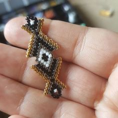 This Pin was discovered by Gül Seed Bead Jewelry, Seed Bead Earrings, Seed Beads, Beaded Jewelry, Beaded Bracelet, Peyote Stitch, Brick Stitch, Stitch Patterns, Creations